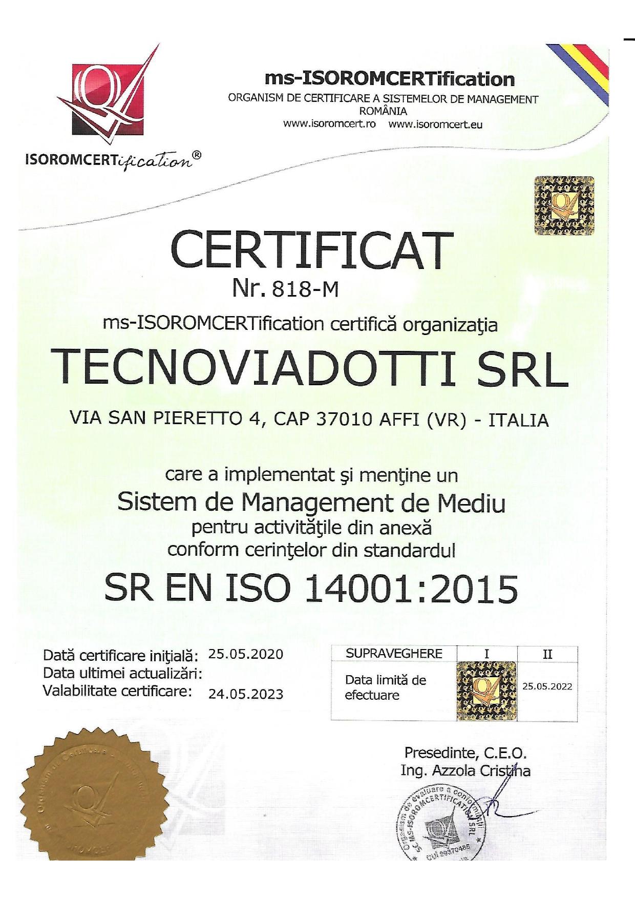 SR EN ISO 14001:2015